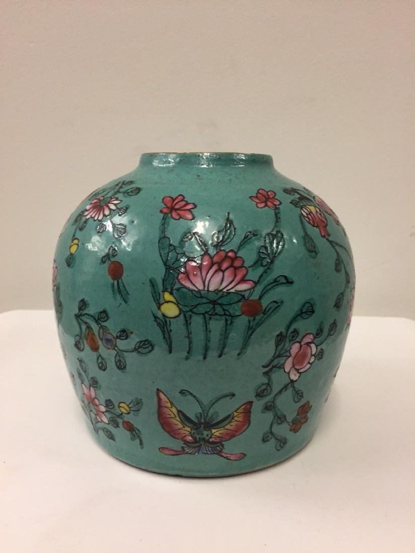 Antique Chinese Porcelain Turquoise Famille Rose Jar