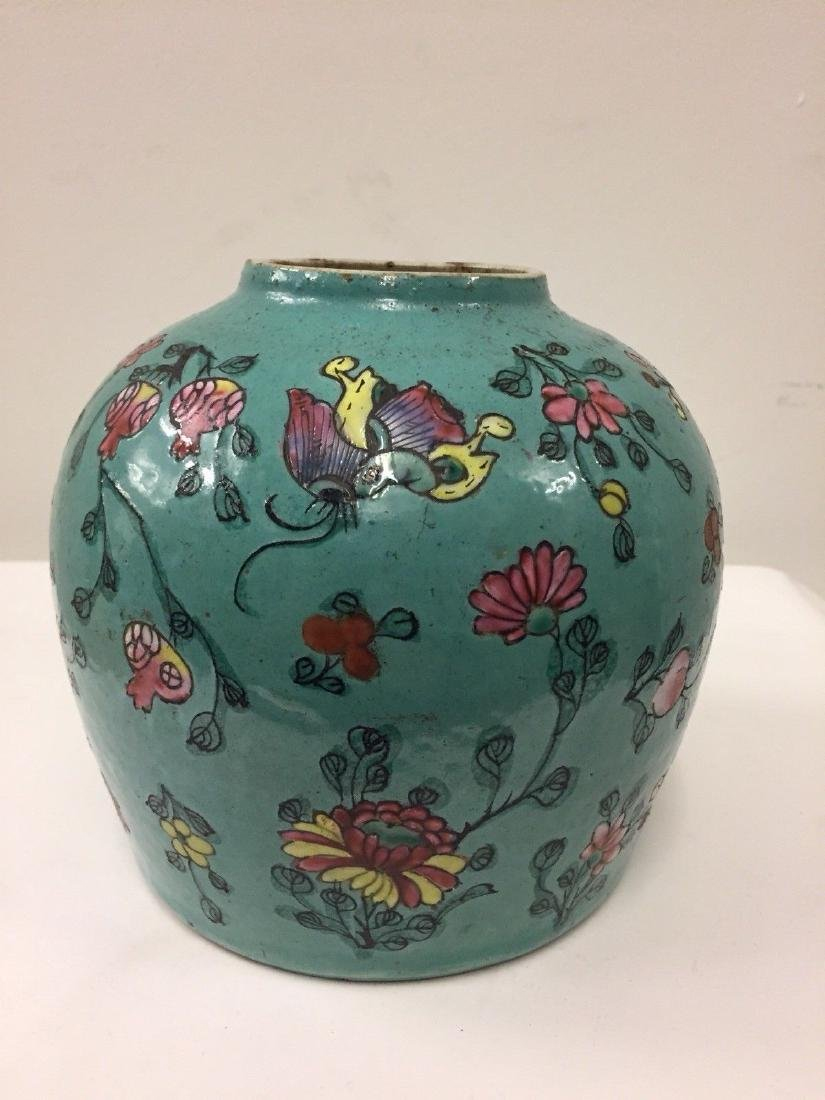 Antique Chinese Porcelain Turquoise Famille Rose Jar - 2