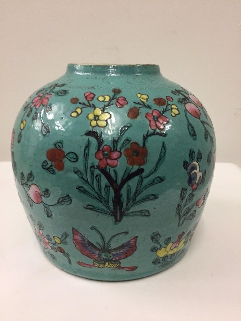 Antique Chinese Porcelain Turquoise Famille Rose Jar - 3