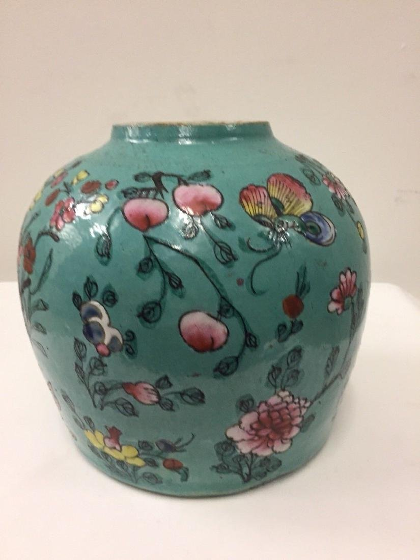 Antique Chinese Porcelain Turquoise Famille Rose Jar - 4
