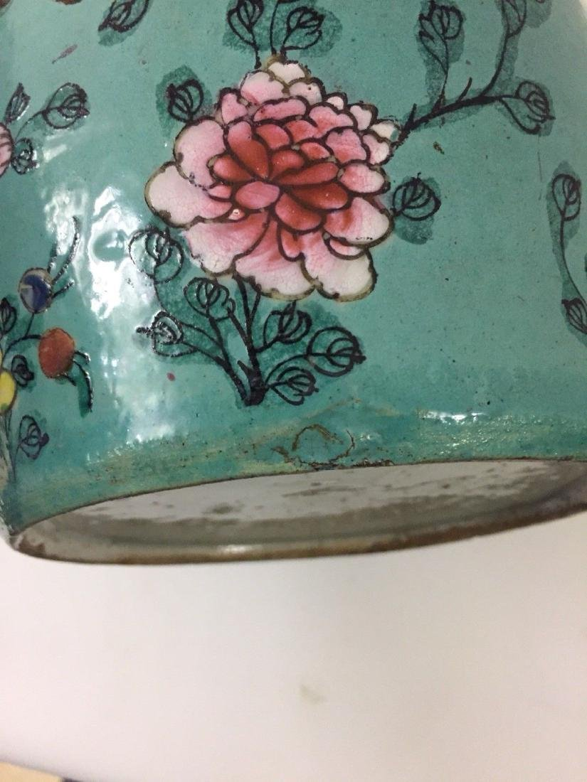Antique Chinese Porcelain Turquoise Famille Rose Jar - 7