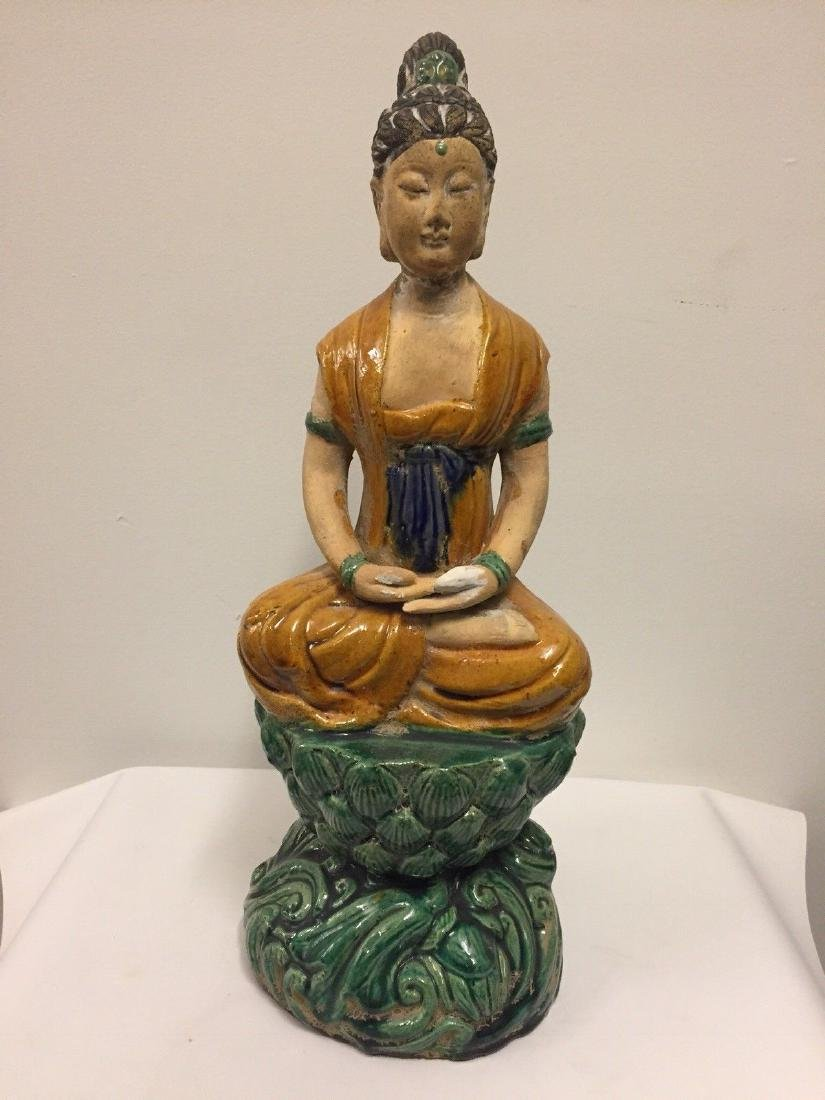 Chinese Pottery Seated Kuan Yin On Pedestal, 20th Cent.
