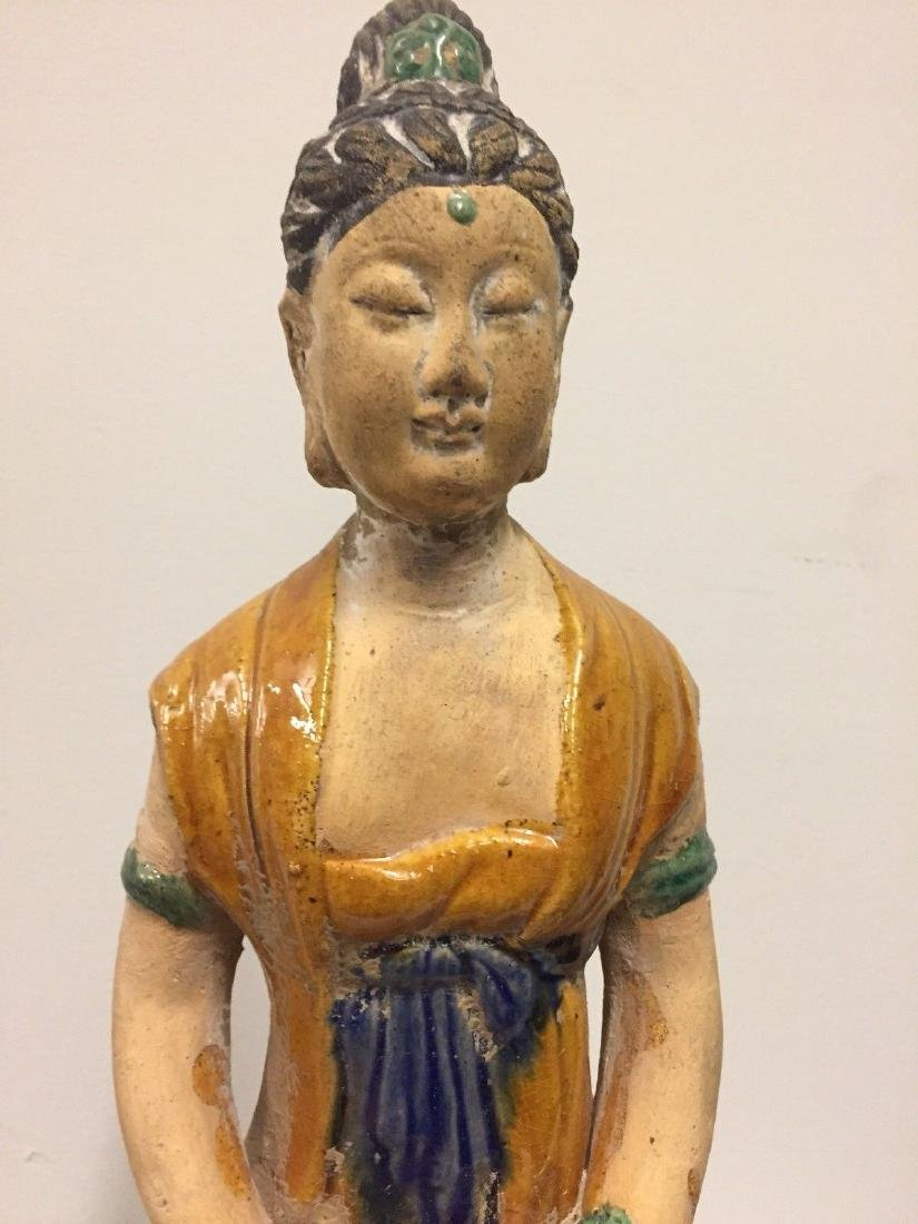Chinese Pottery Seated Kuan Yin On Pedestal, 20th Cent. - 2