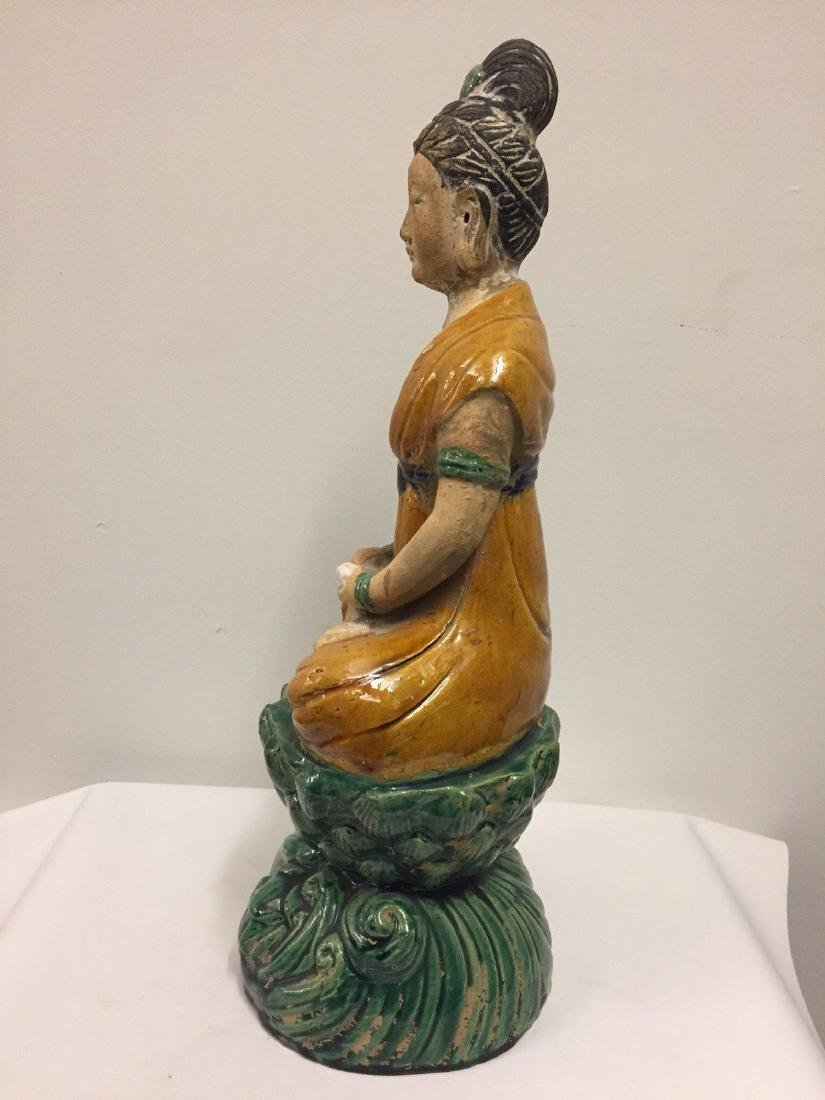 Chinese Pottery Seated Kuan Yin On Pedestal, 20th Cent. - 5