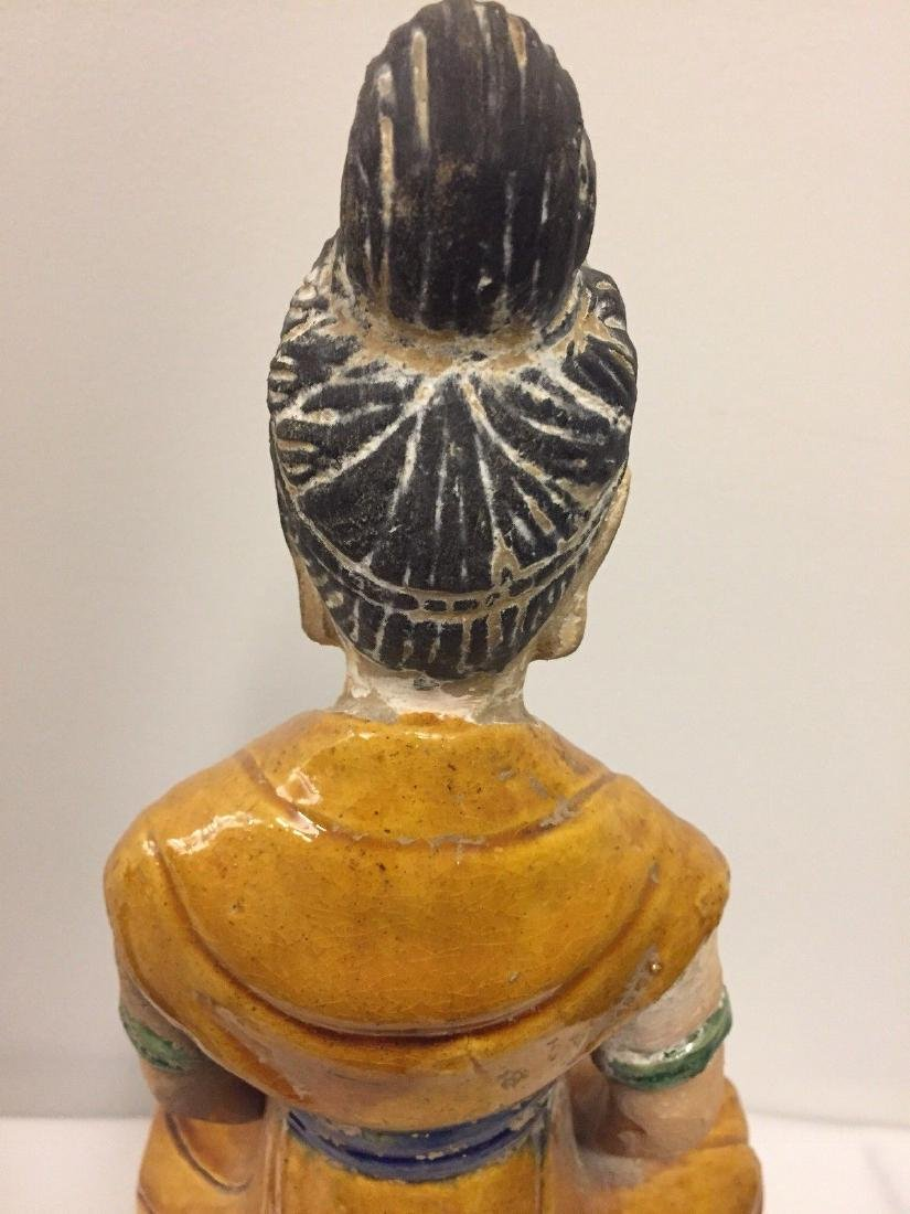 Chinese Pottery Seated Kuan Yin On Pedestal, 20th Cent. - 7