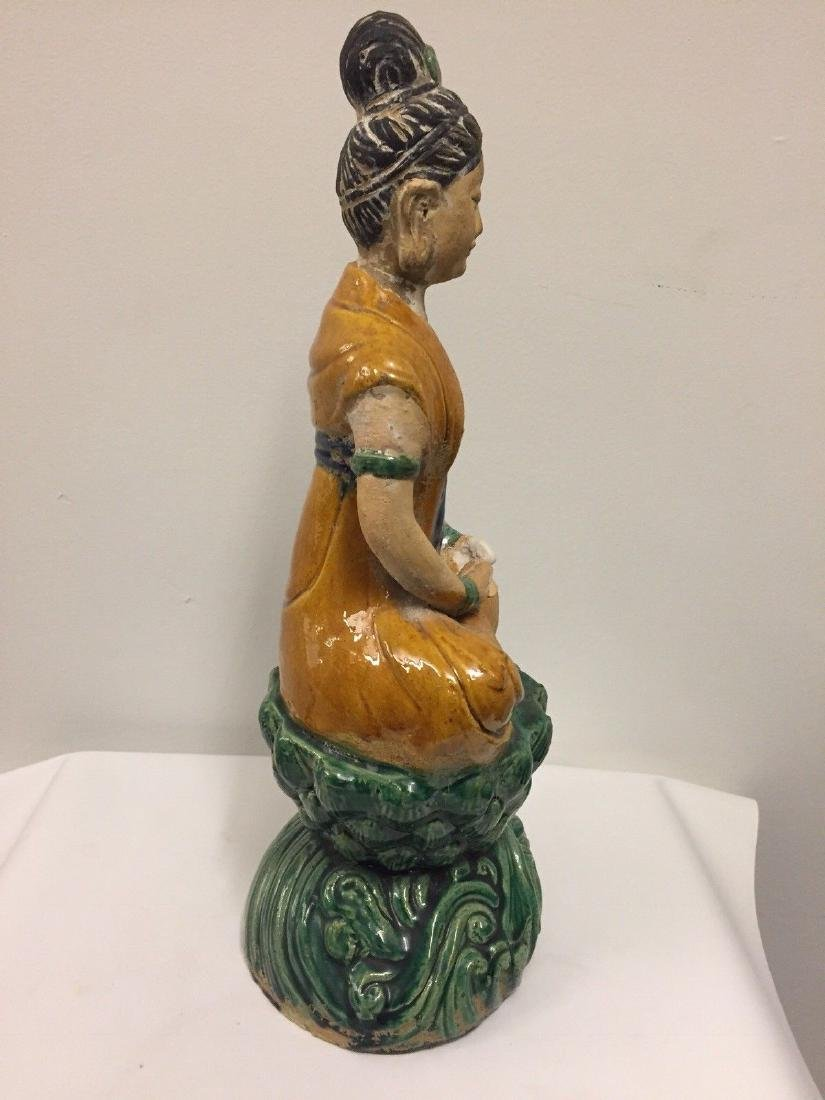 Chinese Pottery Seated Kuan Yin On Pedestal, 20th Cent. - 8