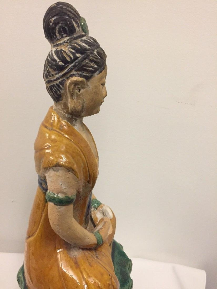 Chinese Pottery Seated Kuan Yin On Pedestal, 20th Cent. - 9