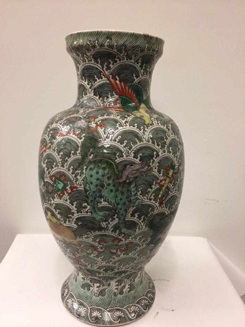 Antique Chinese Porcelain Famille Verte Vase, 19th Cent