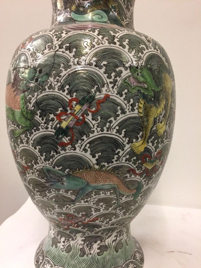 Antique Chinese Porcelain Famille Verte Vase, 19th Cent - 4