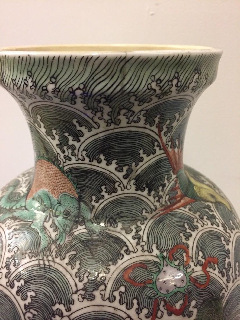 Antique Chinese Porcelain Famille Verte Vase, 19th Cent - 8
