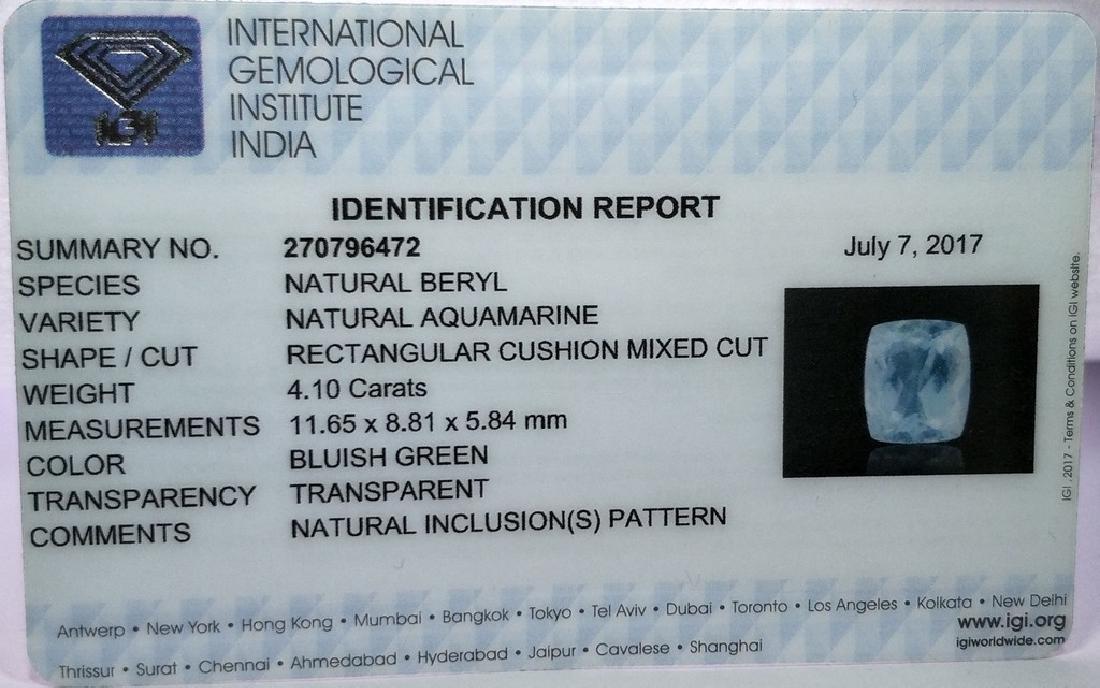 IGI CERTIFIED Aquamarine - 4.10 ct - 4