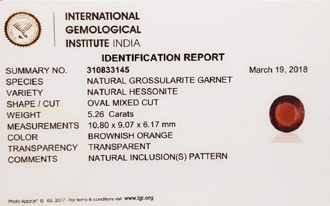 IGI CERTIFIED Hessonite Granet - 5.26 ct - 5