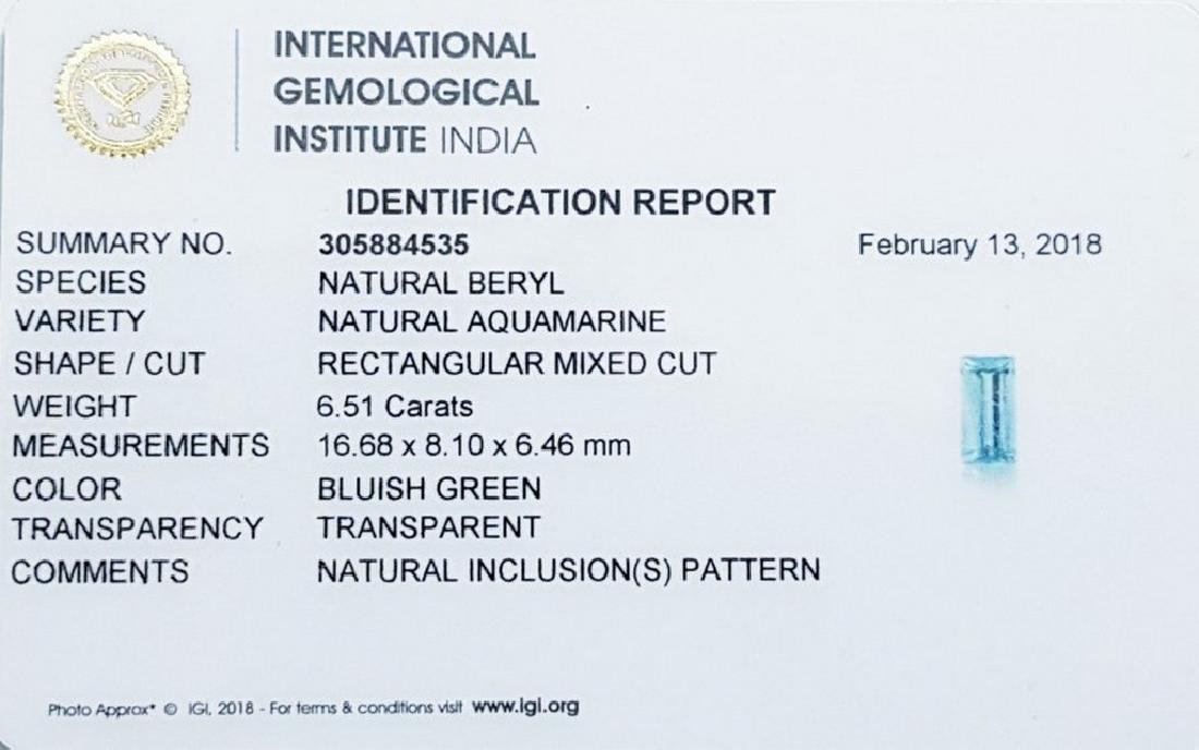 IGI CERTIFIED Aquamarine - 6.51 ct - 5