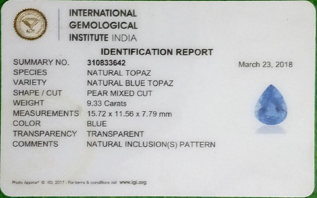 IGI CERTIFIED Swiss Blue Topaz - 9.33 Ct - 5