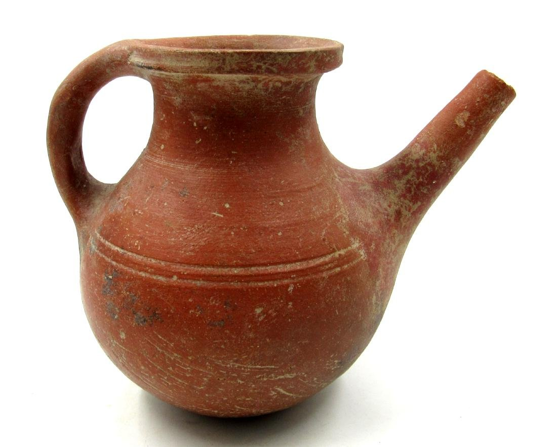 Ancient Roman Terracotta Redware Pouring Jar with