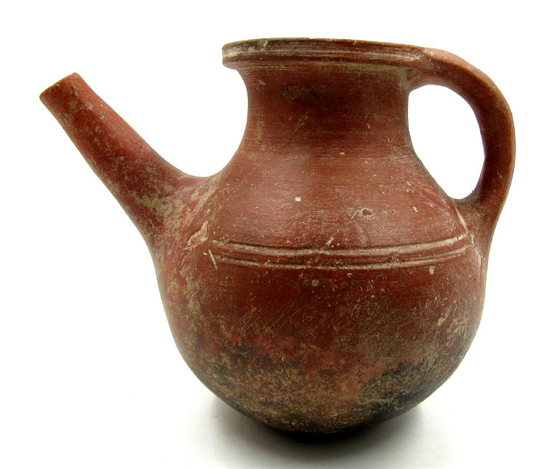 Ancient Roman Terracotta Redware Pouring Jar with - 2