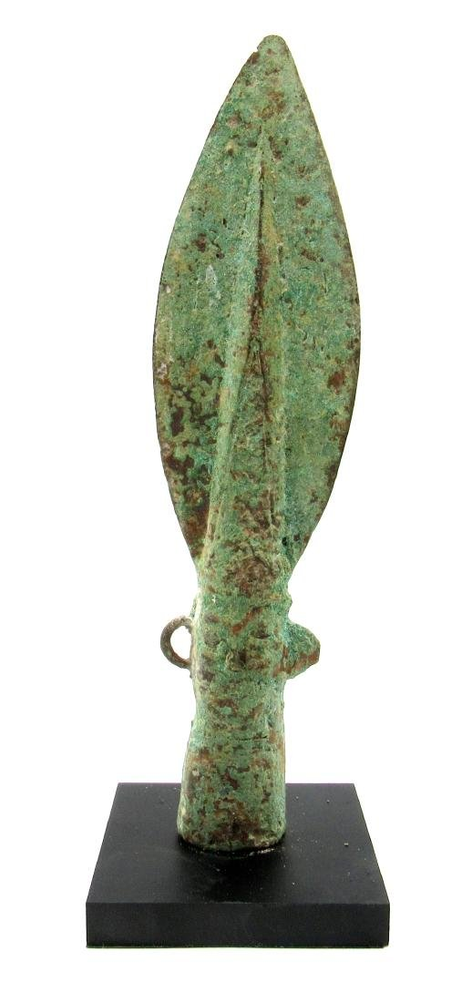Ancient Chinese Warring State Bronze Spear with Face &