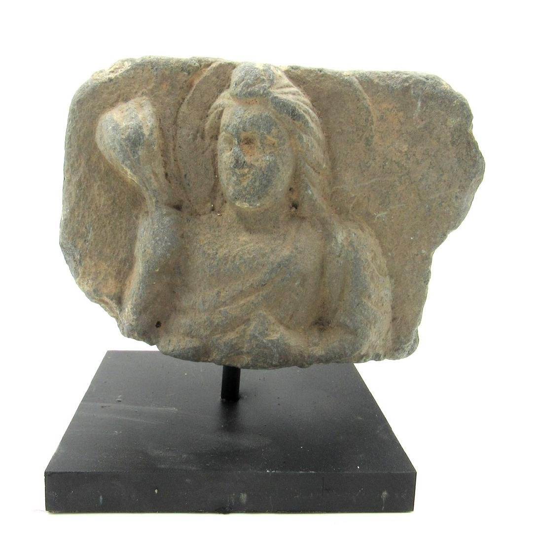 Ancient Gandhara Schist Panel with Buddha Holding a