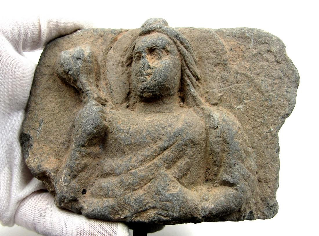 Ancient Gandhara Schist Panel with Buddha Holding a - 2