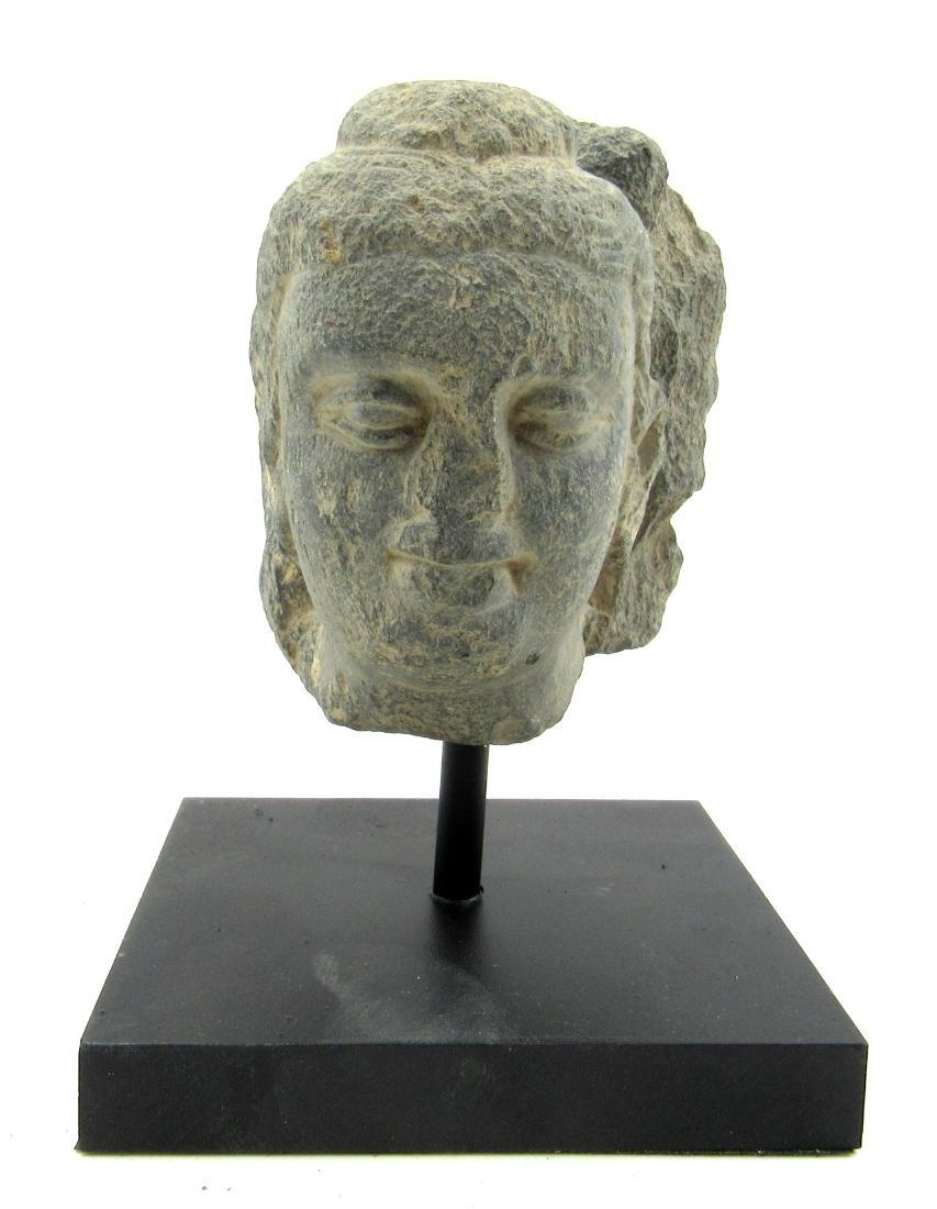 Ancient Gandhara Schist Buddha Head on Display Stand