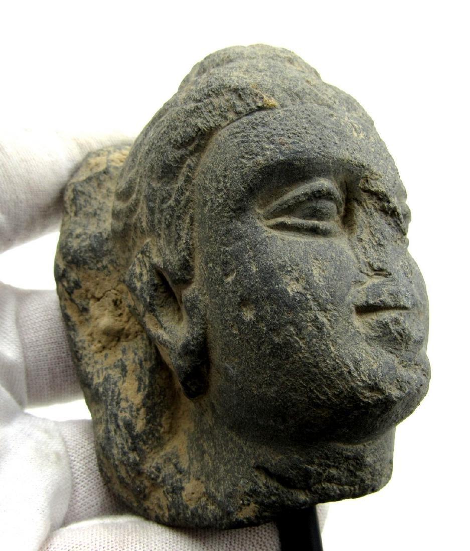 Ancient Gandhara Schist Buddha Head on Display Stand - 2
