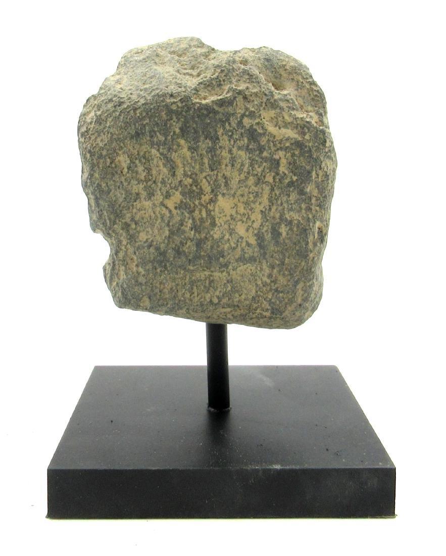 Ancient Gandhara Schist Buddha Head on Display Stand - 3