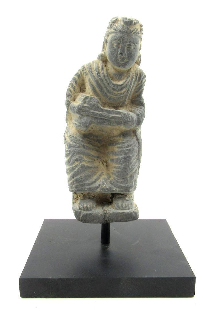 Ancient Gandhara Schist Buddha on Display Stand