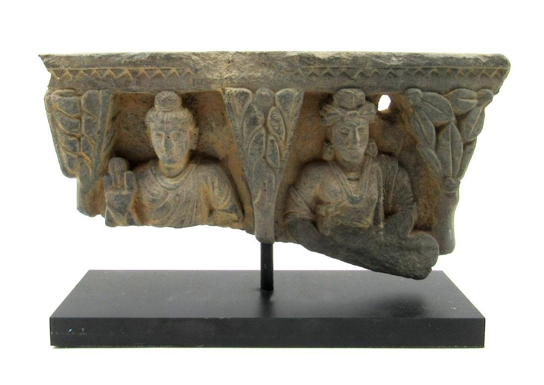 Ancient Gandhara Schist Panel with 2 Figures on Display