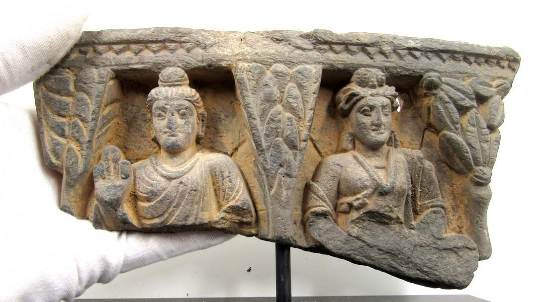 Ancient Gandhara Schist Panel with 2 Figures on Display - 2