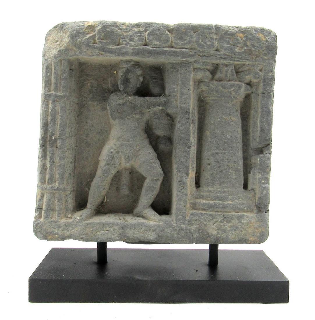 Ancient Gandhara Schist Panel with Figure on Display