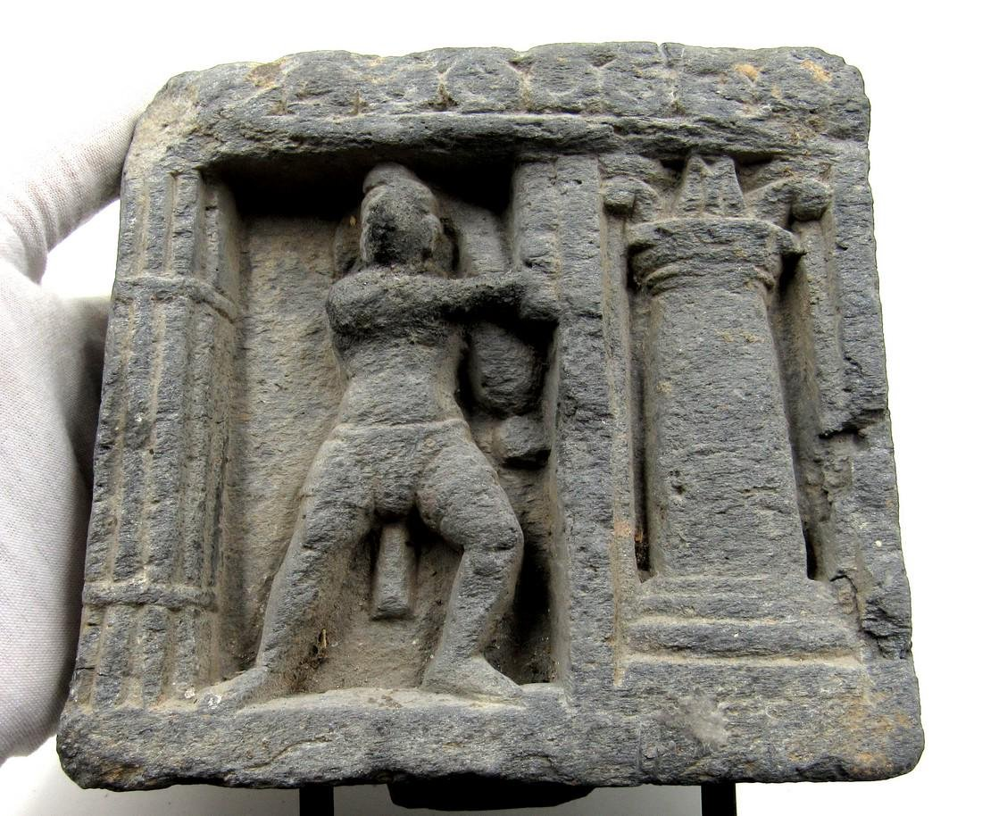 Ancient Gandhara Schist Panel with Figure on Display - 2