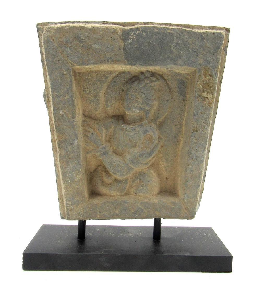 Ancient Gandhara Schist Panel with Buddha on Display