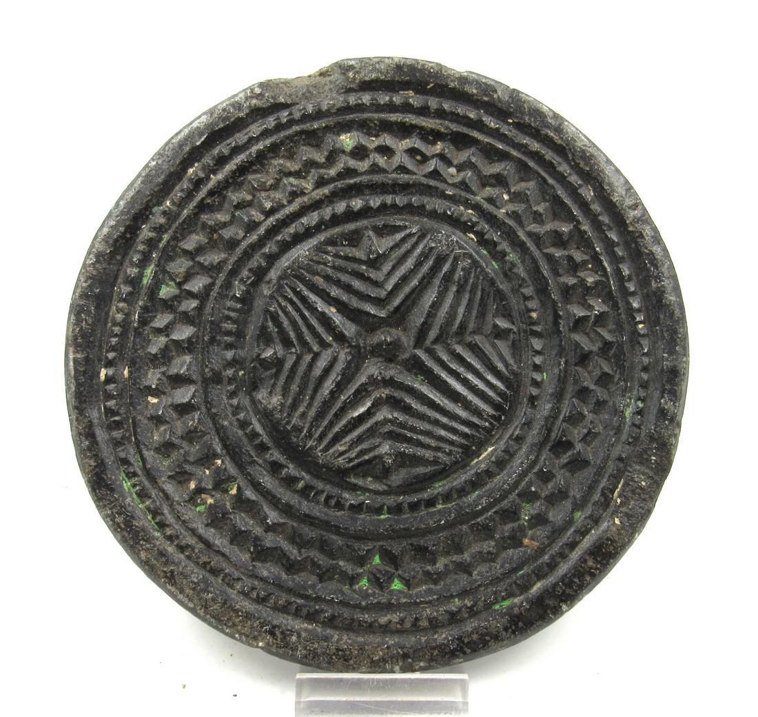 Ancient Gandhara Schist Circular Panel with Geometric