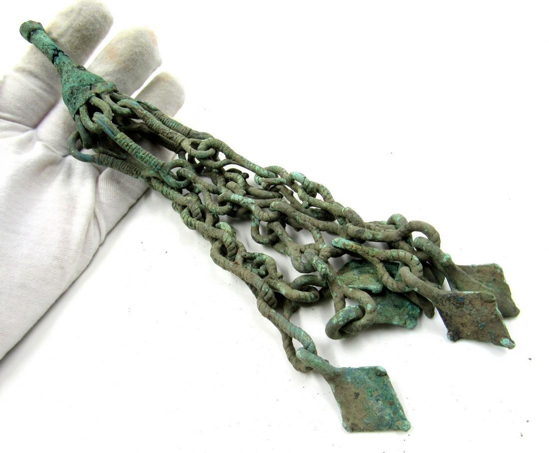 Medieval Viking Era Bronze Amulet with Tassels & Goose - 3