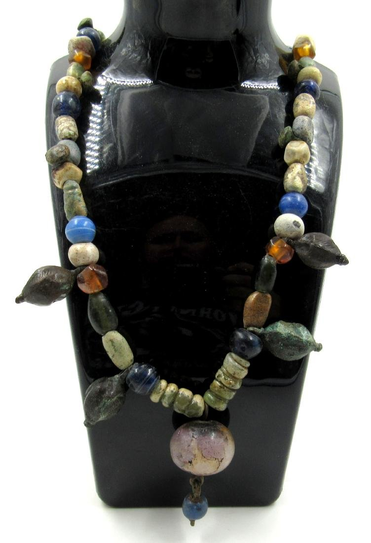 Medieval Glass, Stone & Bronze Beaded Necklace