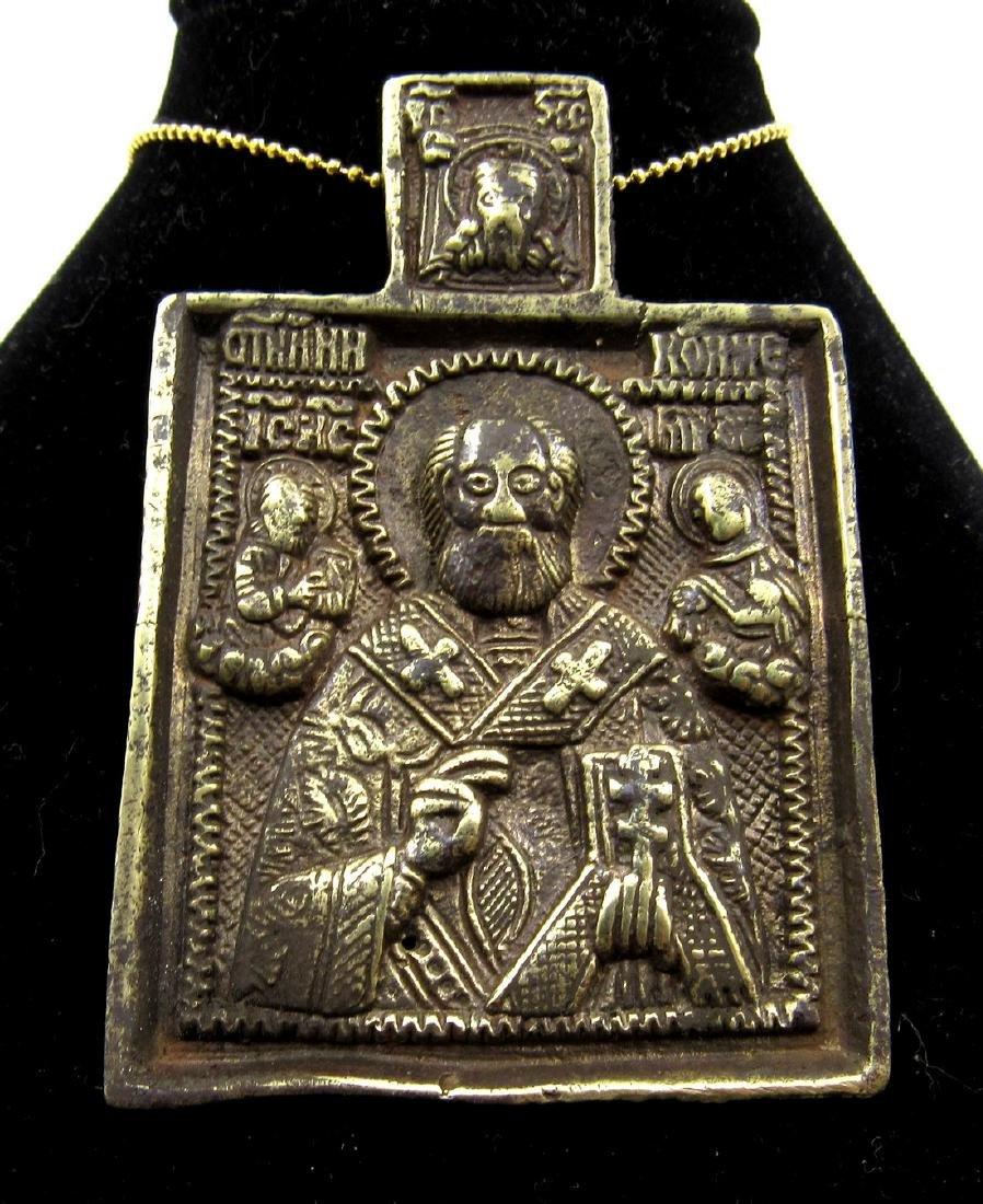 Medieval Bronze Icon Pendant with Saints