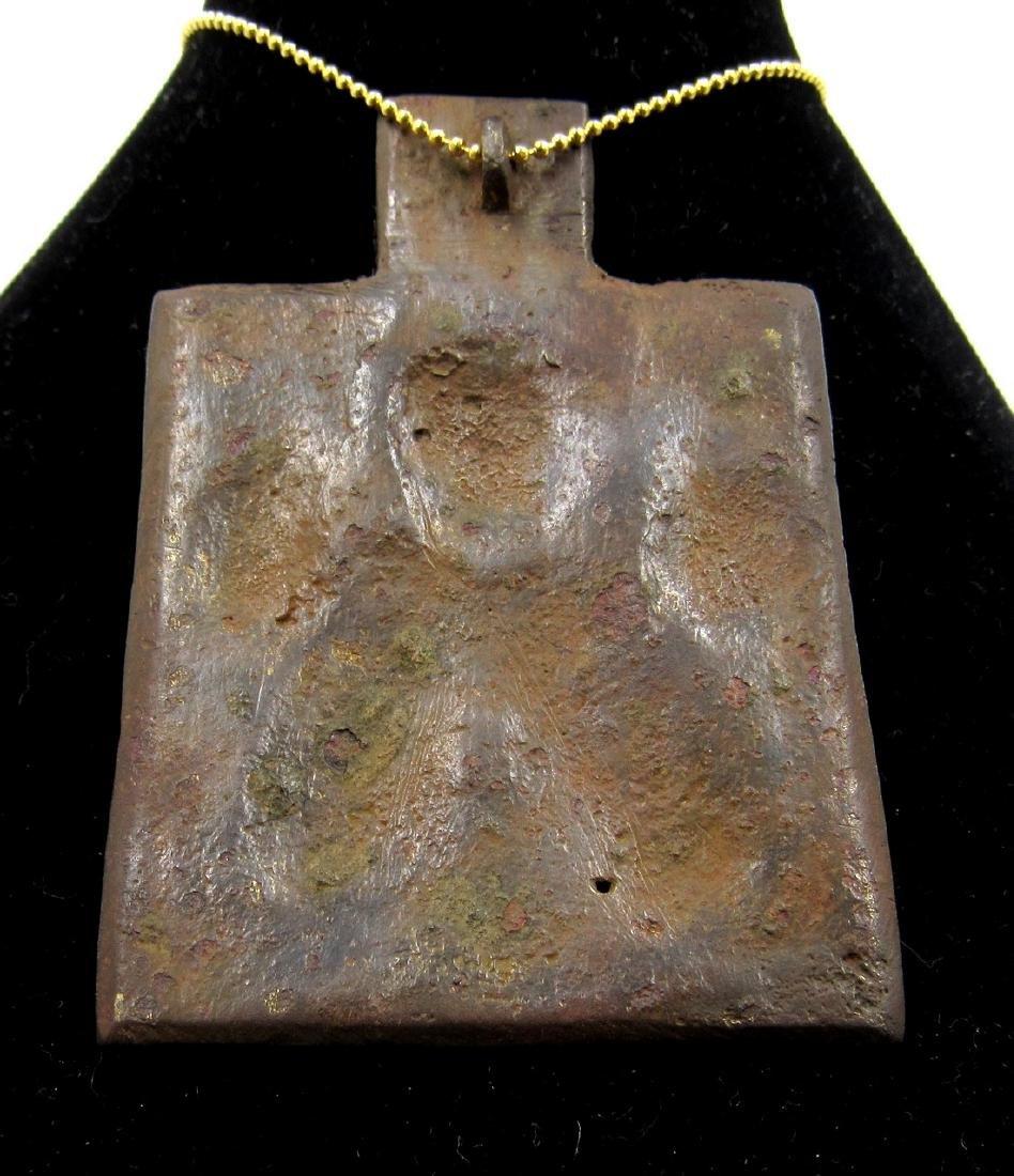 Medieval Bronze Icon Pendant with Saints - 2