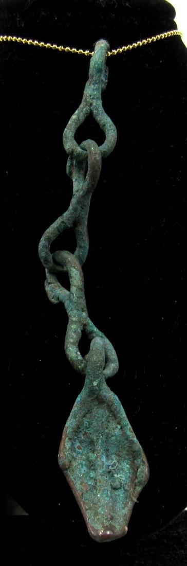 Medieval Viking Era Bronze Pendant with Tassels & Goose
