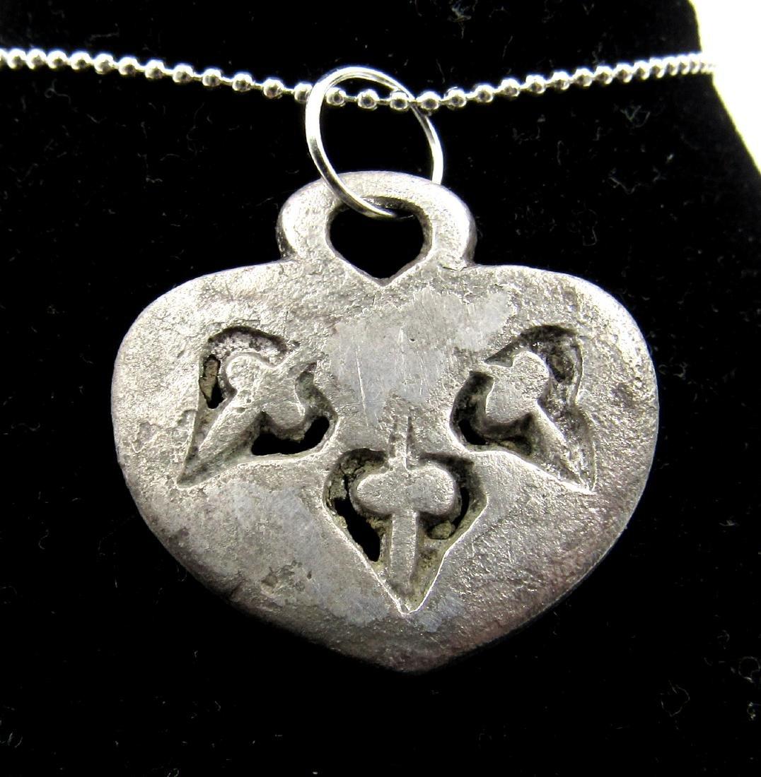 Medieval Viking Era Silver Floral Pendant