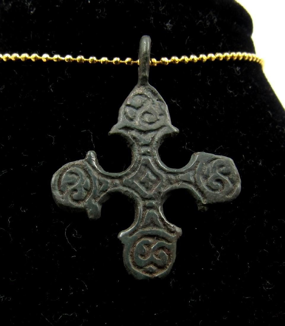 Medieval Viking Era Bronze Runic Cross Pendant