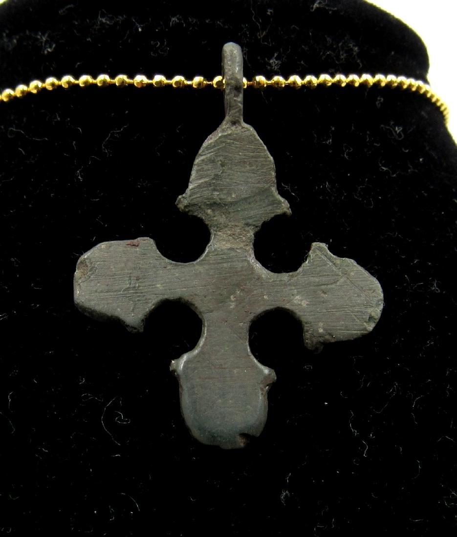 Medieval Viking Era Bronze Runic Cross Pendant - 2
