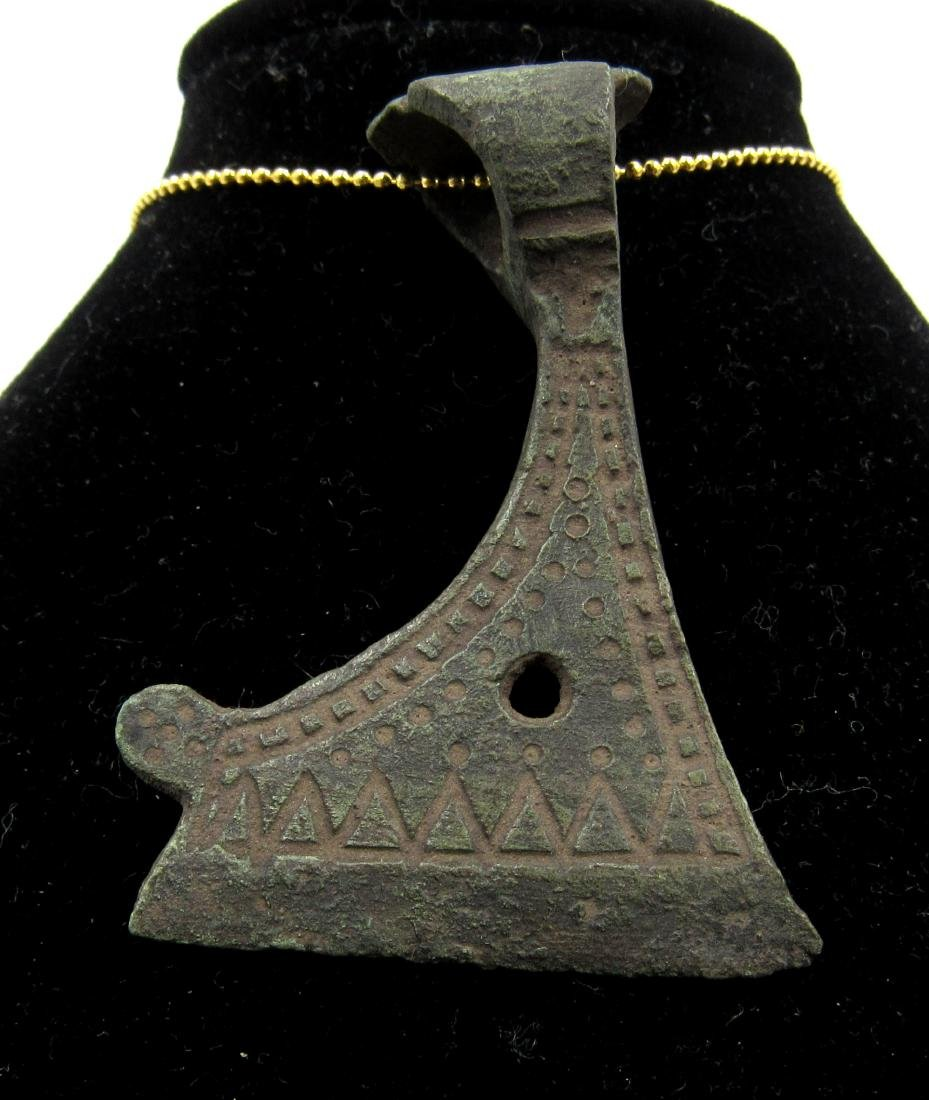 Medieval Viking Era Bronze Decorated Axe Pendant - 2
