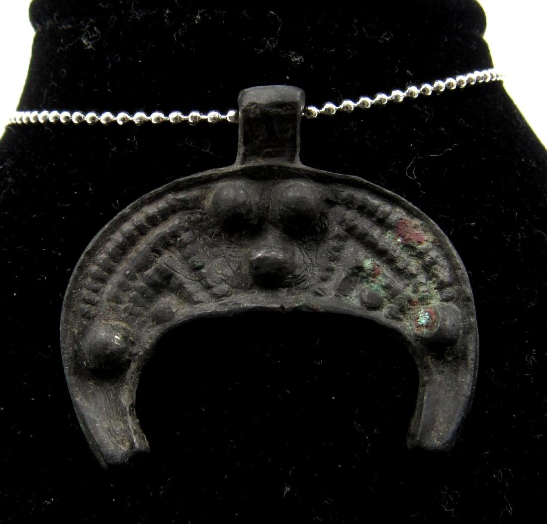 Medieval Viking Era Bronze Lunar Pendant