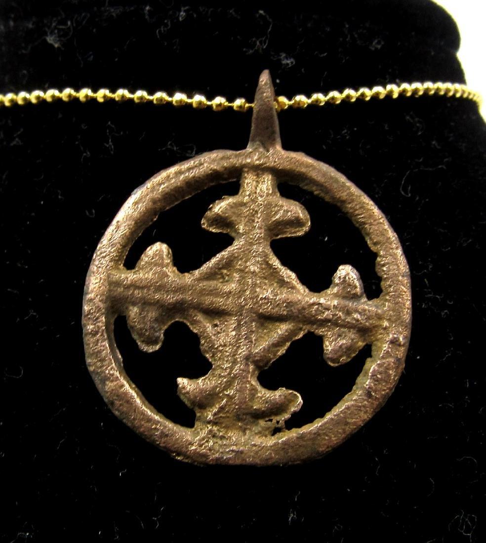 Medieval Crusaders Era Bronze Open-Work Cross Pendant