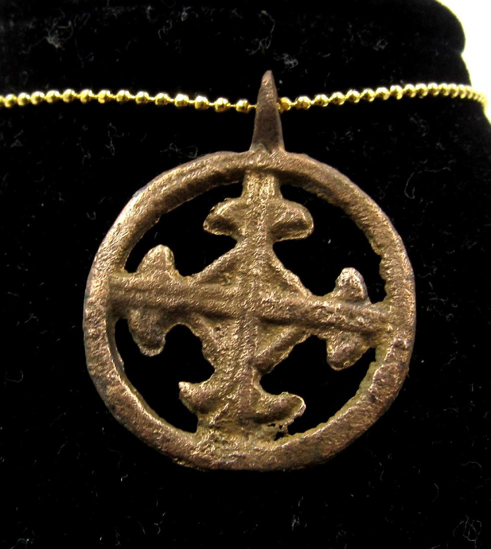 Medieval Crusaders Era Bronze Open-Work Cross Pendant