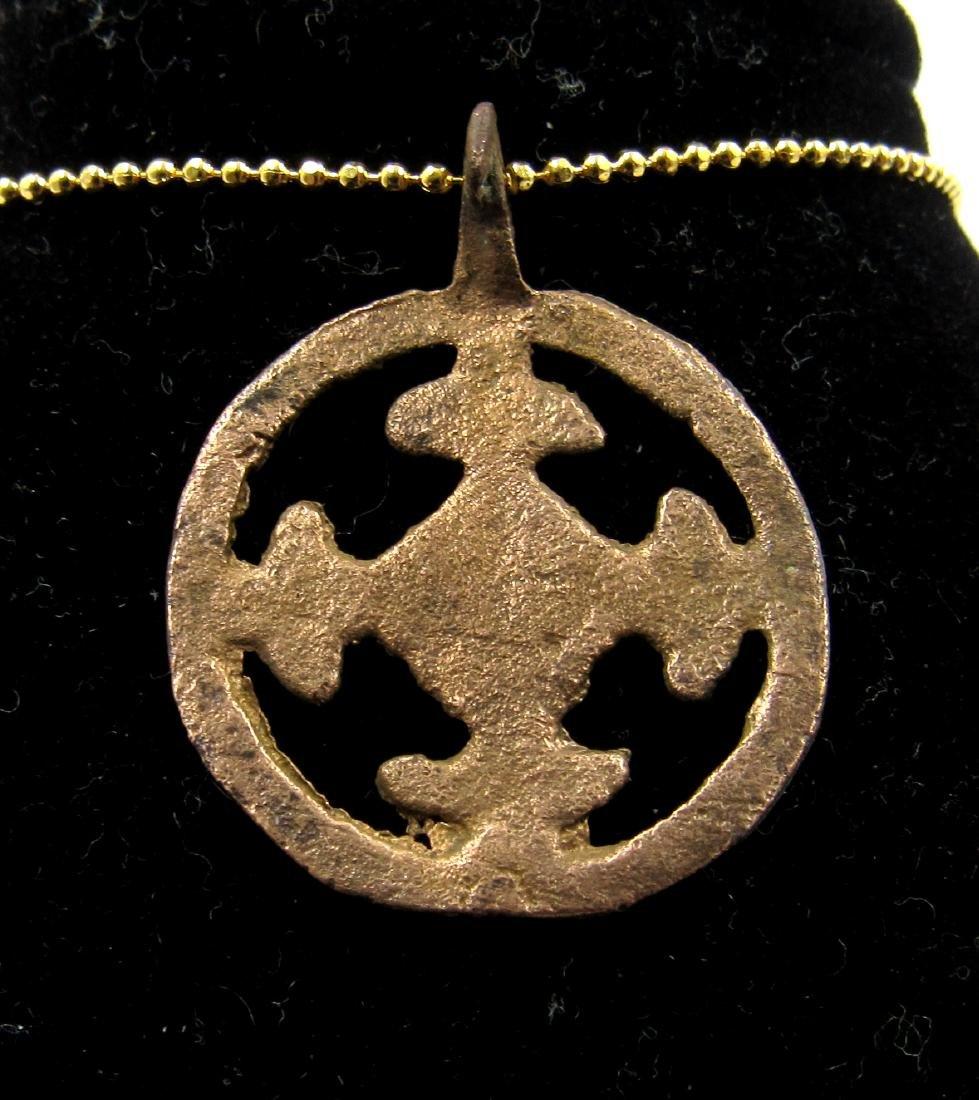 Medieval Crusaders Era Bronze Open-Work Cross Pendant - 2