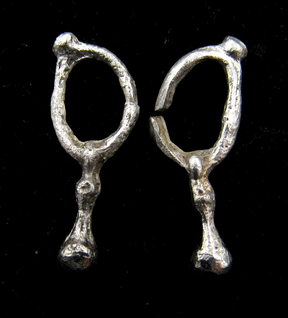 Pair of Medieval Viking Era Silver Earrings