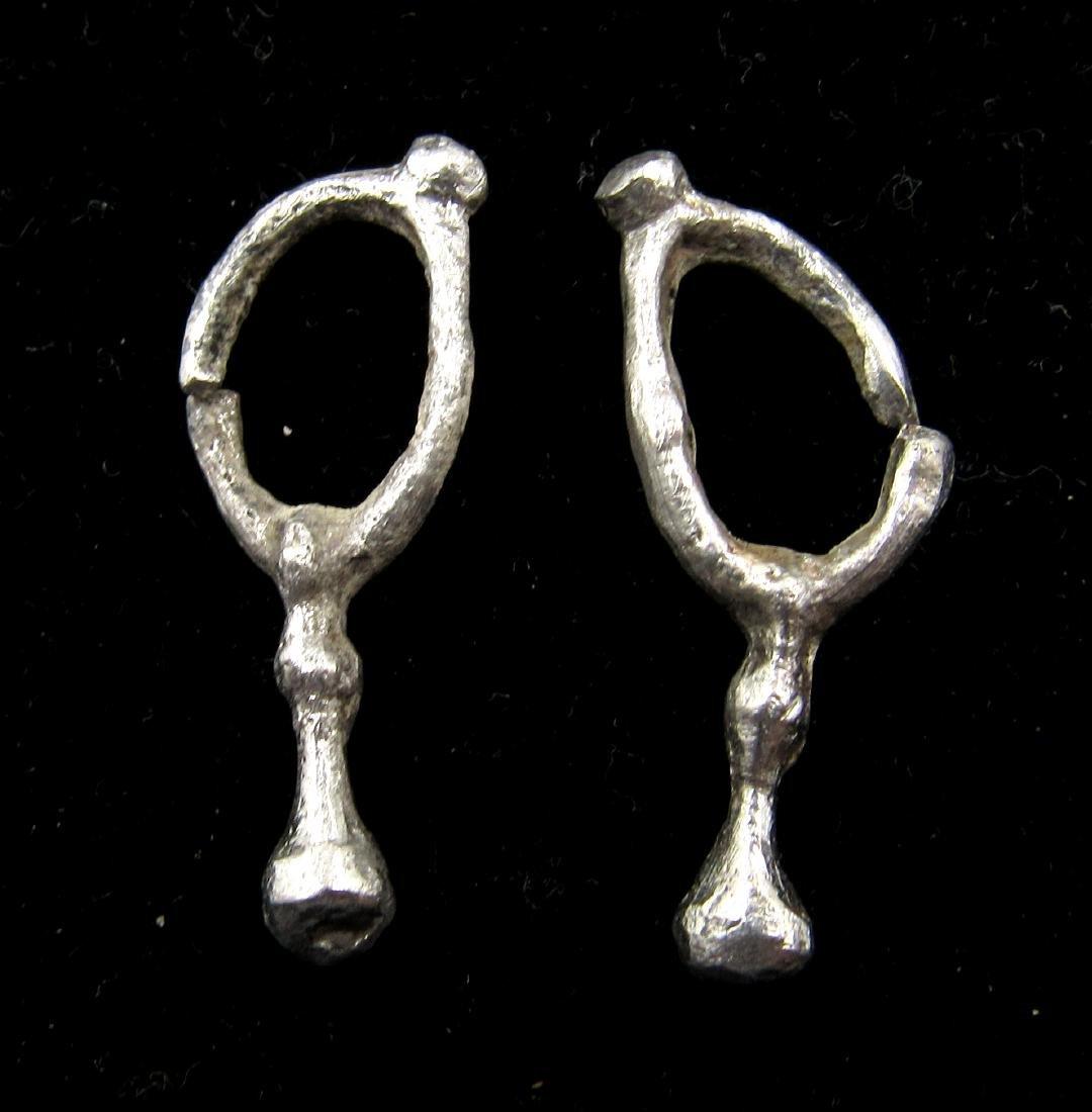 Pair of Medieval Viking Era Silver Earrings - 2