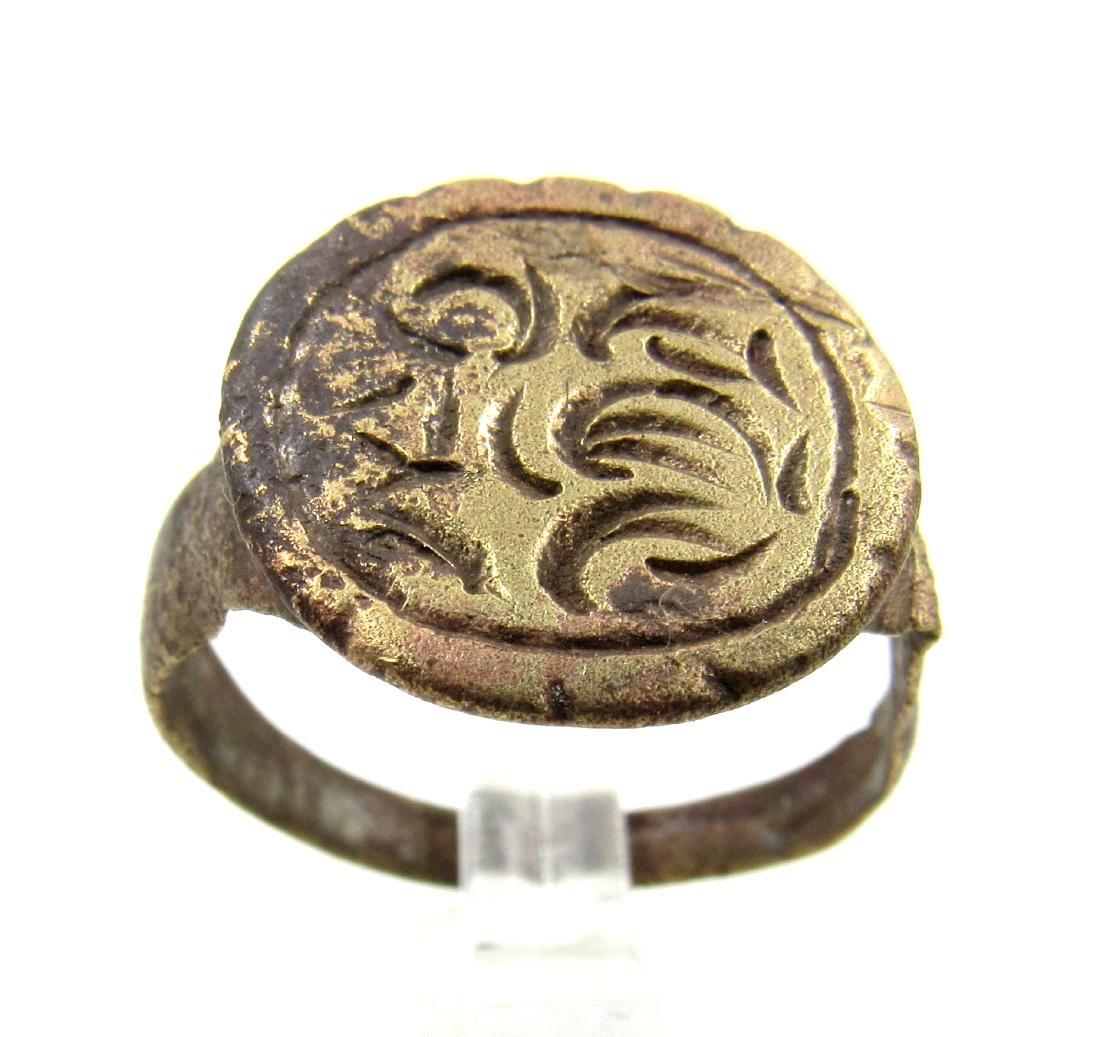 Medieval Crusaders Era Bronze Heraldic Crest Ring
