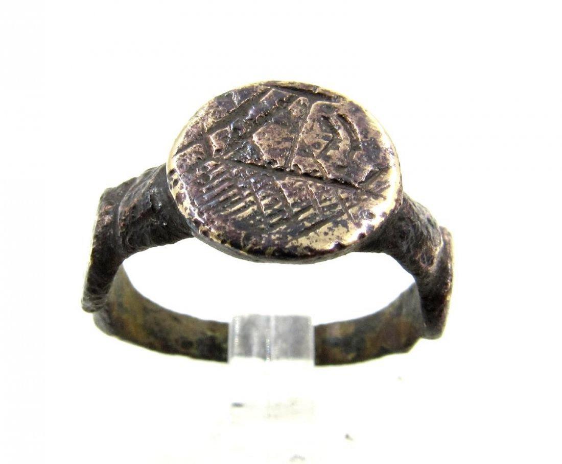 Medieval Viking Era Bronze Runic Ring